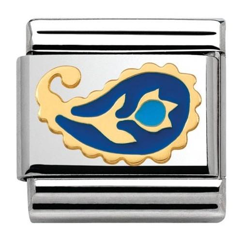 Maillon Nomination classic fleur cachemire bleue