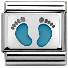 Maillon Nomination classic Argent pieds bleus