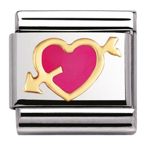 Maillon Nomination classic coeur rose avec flèche