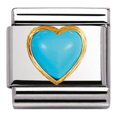 Maillon Nomination classic coeur bombé en turquoise