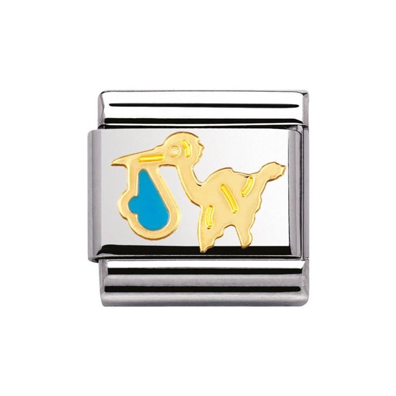 Maillon Nomination classic cigogne bleu