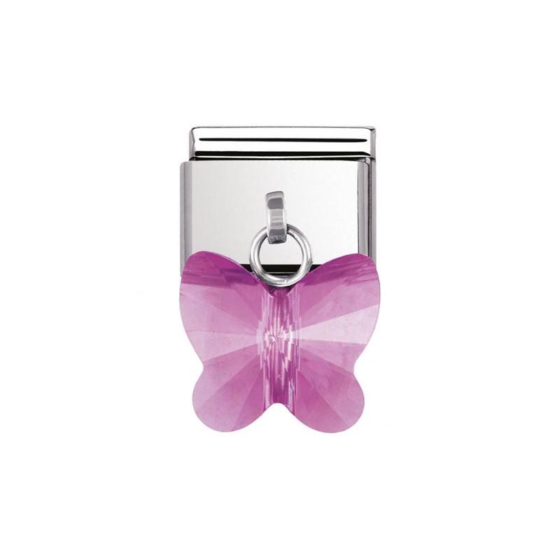 Maillon Nomination classic charms papillon fuschia