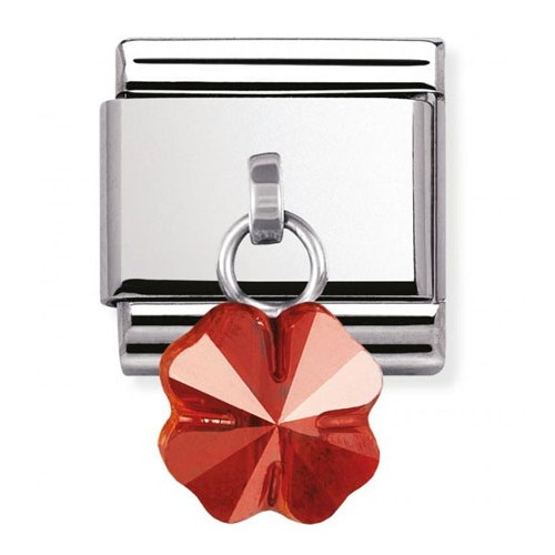 Maillon Nomination classic charms fleur rouge