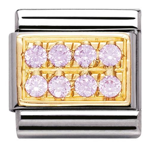 Maillon Nomination classic pavé de pierres roses