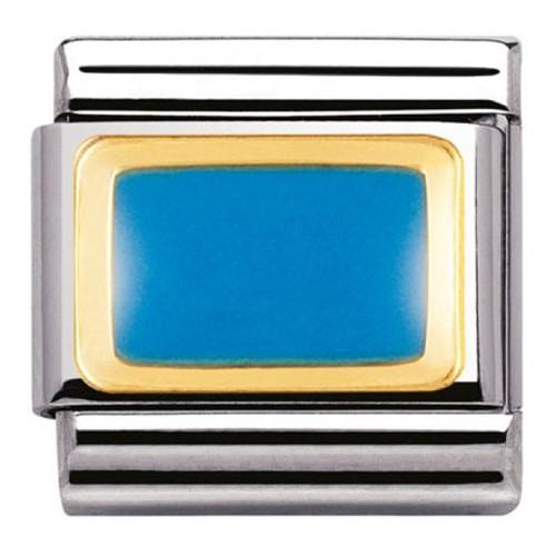 Maillon Nomination classic rectangle bleu