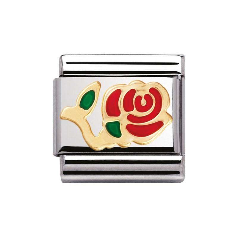 Maillon Nomination classic rose en Or et email
