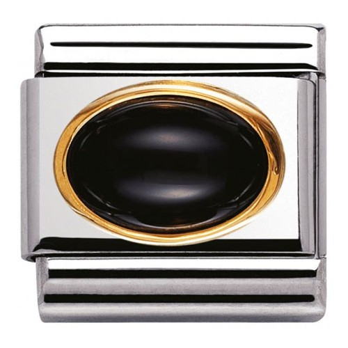 Maillon Nomination classic agathe noire ovale