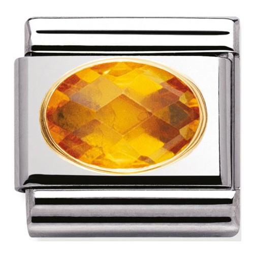 Maillon Nomination classic pierre jaune facetée