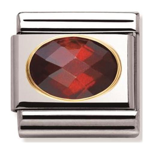 Maillon Nomination classic pierre rouge facetée