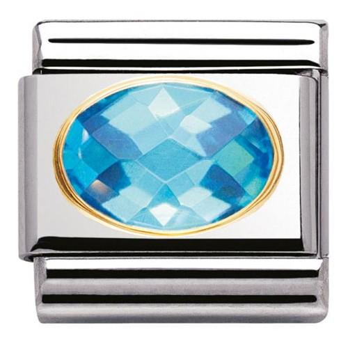 Maillon Nomination classic classic pierre bleue facetée