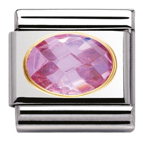 Maillon Nomination classic pierre rose facetée