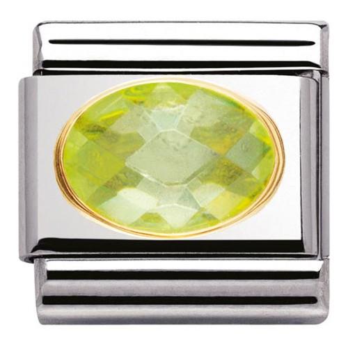 Maillon Nomination classic pierre verte facetée