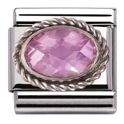 Maillon Nomination classic pierre facetée rose