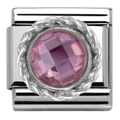 Maillon Nomination classic pierre ronde rose