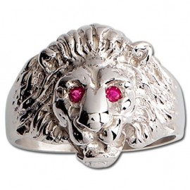 Chevalière tête de lion argent rubis