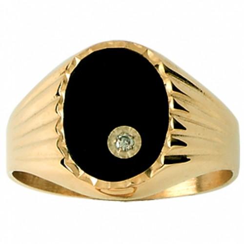 Chevalière Or jaune, Onyx et Diamant