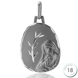 Médaille de baptême Vierge en Or blanc - Augis