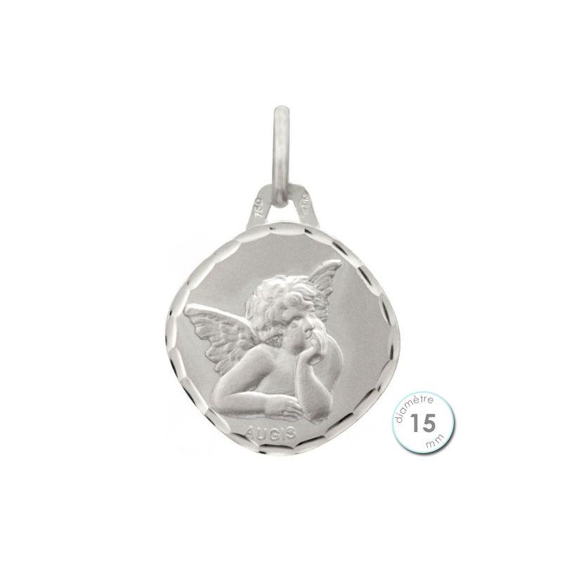 Médaille de baptême Ange en Or blanc - Augis