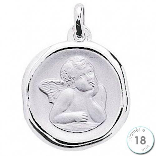 Médaille de baptême Ange en Or blanc