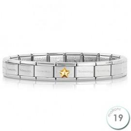 Bracelet Nomination base Acier et étoile bombée Or