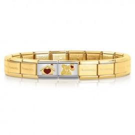 Bracelet Nomination base acier dorée jaune spécial amoureux