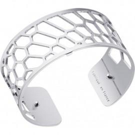Bracelet manchette Les Georgettes motif nid d'abeille plaqué Argent medium