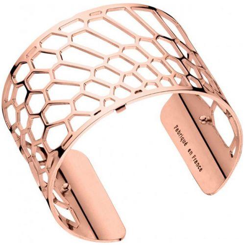 Bracelet manchette Les Georgettes motif nid d'abeille plaqué Or rose large