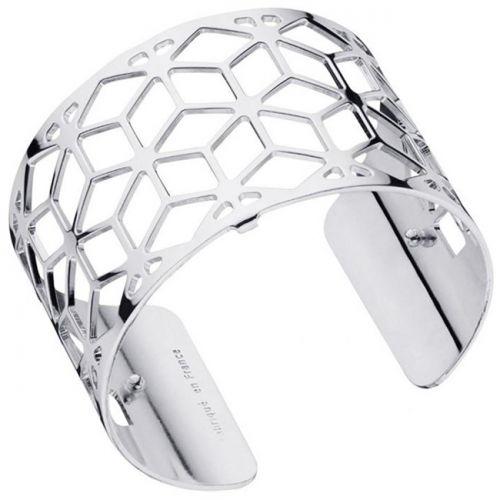 Bracelet manchette Les Georgettes motif resille plaqué Argent large