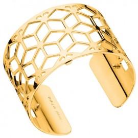 Bracelet manchette Les Georgettes motif resille plaqué Or jaune large