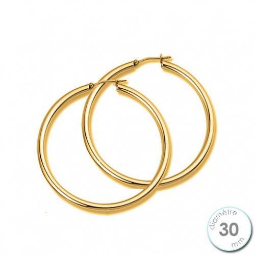 Boucles d'oreilles Créoles plaqué Or diamètre 30 mm