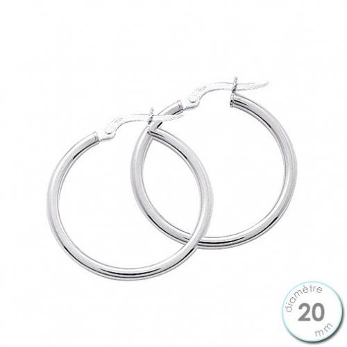 Boucles d'oreilles créoles Or blanc 750 diamètre 20 mm