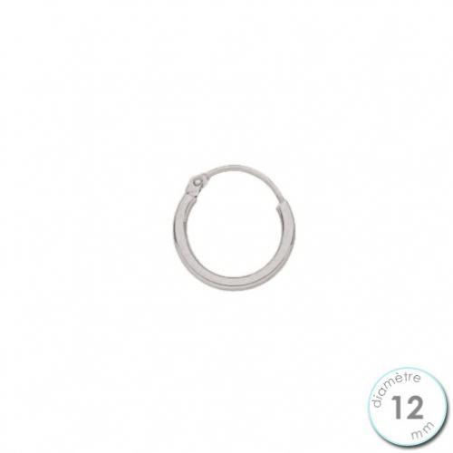 Boucle d'oreille créole à l'unité Or blanc 12 mm