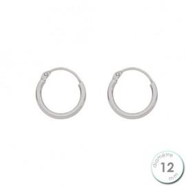 Boucles d'oreilles créoles Or blanc 750 diamètre 12 mm