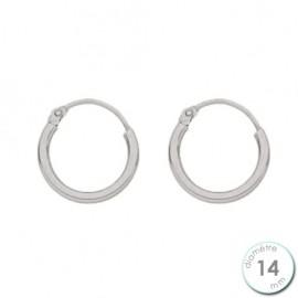Boucles d'oreilles créoles Or blanc 750 diamètre 14 mm