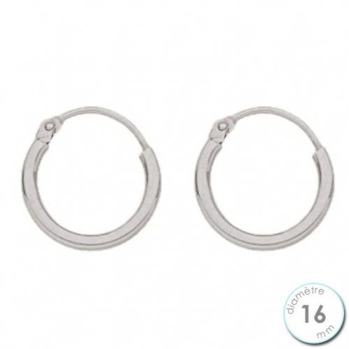 Boucles d'oreilles créoles Or blanc 750 diamètre 16 mm