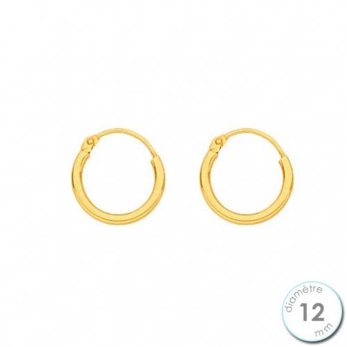 Boucles d'oreilles créoles Or jaune 750 diamètre 12 mm