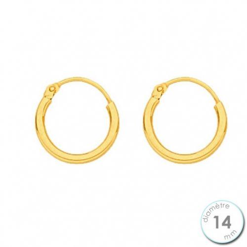Boucles d'oreilles créoles Or jaune 750 diamètre 14 mm