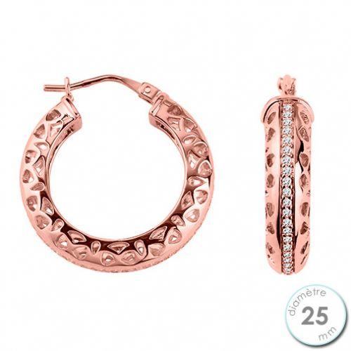 Boucles d'oreilles créoles Plaqué Or rose et oxydes de zirconium