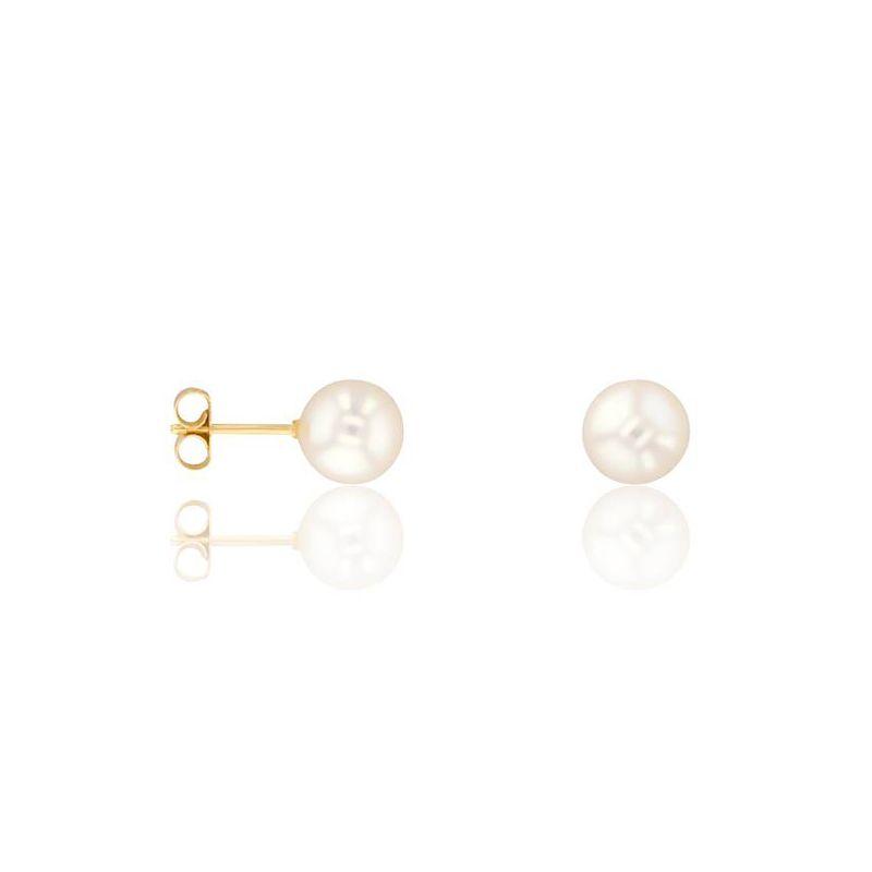 Boucles d'oreilles Or jaune et perle diamètre 5.5/6mm