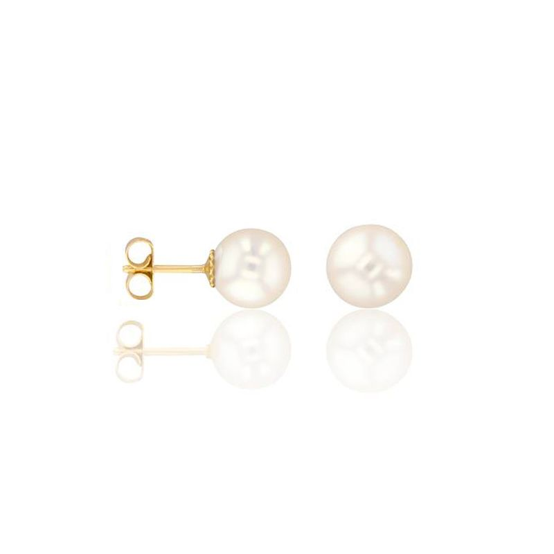 Boucles d'oreilles Or jaune et perle diamètre 7/7.5mm