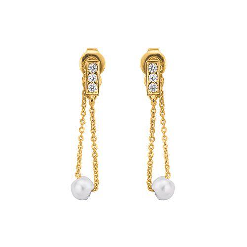 Boucles d'oreilles Or jaune 375, perle et oxydes de zirconium