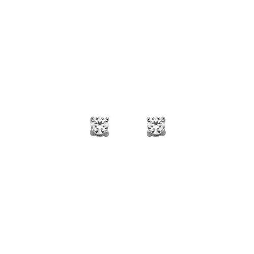 Boucles d'oreilles Argent et oxyde de zirconium diamètre 3 mm