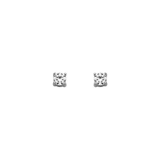 Boucles d'oreilles Argent et oxyde de zirconium diamètre 4 mm
