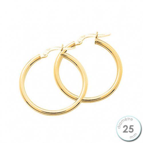 Boucles d'oreilles créoles Or jaune 750 diamètre 25 mm