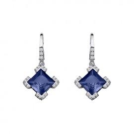 Boucles d'oreilles Argent, pierres bleues et oxyde de zirconium