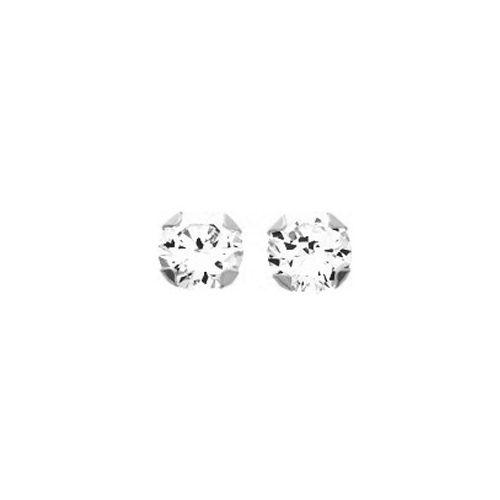 Boucles d'oreilles Or blanc et oxyde de zirconium diamètre 5 mm