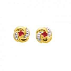 Boucles d'oreilles Or, rubis et oxydes de zirconium