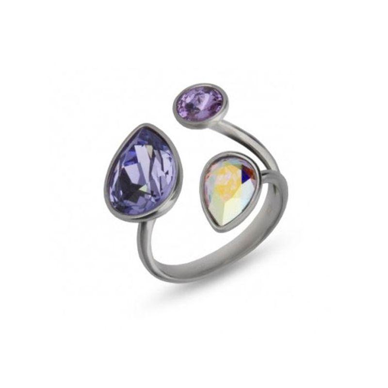Bague Argent et cristaux de Swarovski violets