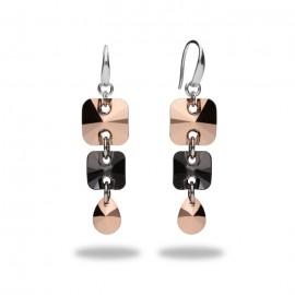 Boucles d'oreilles Spark Argent et cristaux de Swarovski roses et noirs