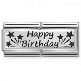 Maillon Nomination classic double Plaque Happy Birthday